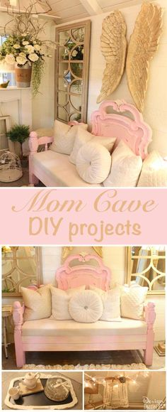 Beautiful Mom Cave designed and decorated by Toni of Design Dazzle. Check out all the DIY projects - rug, bench, fireplace, wire lampshade frames, and fairy lighting.