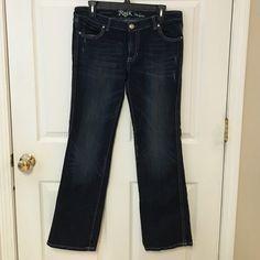 Women's Rock 47 jeans by Wrangler Women's Rock 47 jeans by Wrangler.  Ultra low rise.  9x32.  99% cotton 1% spandex Rock 47 by Wrangler Jeans Boot Cut