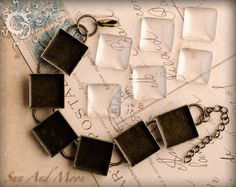5 Square Bracelet Blanks with Glass  Choose by SunAndMoonCraftKits, $30.00