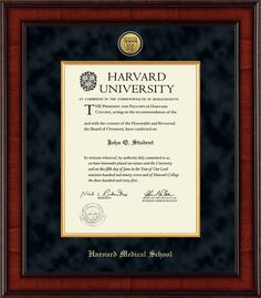 Harvard University - Presidential Gold Engraved Diploma Frame in  Jefferson with Black Suede & Gold Fillet Mats
