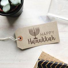 Happy Hanukkah Stamp  Menorah Stamp  Candelabrum  Jewish