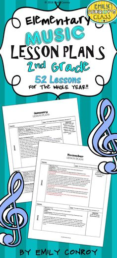 Second Grade Music Lessons Plans-These plans are creative and concise. They are for the whole year and contain song, activity, and game ideas for 2nd grade music students.