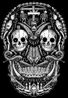Bones within a skull La Muerte Tattoo, Diy Poster, We All Mad Here, Totenkopf Tattoos, Geniale Tattoos, Skull Artwork, Sugar Skull Art, Sugar Skulls, Skull Wallpaper