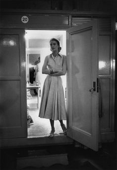 Grace Kelly outside her dressing room at MGM
