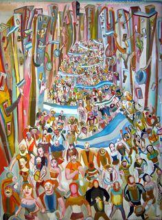Cacerolazo de diciembre de 2001  , acrilico sobre lienzo,97 x 130 cm. , 2001 . By Diego Manuel