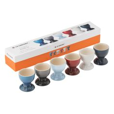 Perfect as a gift or treat for yourself, this set of six egg cups brings a touch of coastal living to the home. Crafted with a robust, high quality finish, and come in one of each colour: Marseille Blue, Flint, Coastal Blue, Cerise, Cotton and Ink. Presented in a stylish gift box. [Le Creuset Set of Six Egg Cups]