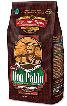 2LB Cafe Don Pablo Signature Blend Coffee - Whole Bean Coffee - Medium Dark Roast - 2 Lb Bag (Whole Bean).    Don Pablo's Special Blend of Colombia, Guatemala, and Brazil  Medium to Full Bodied with a Very Smooth Cocoa Toned Finish & Low Acidity  Medium-Dark Roast - Whole Bean Arabica Coffee - GMO Free  Artisan Roasted in Small Baches for Optimum Freshness