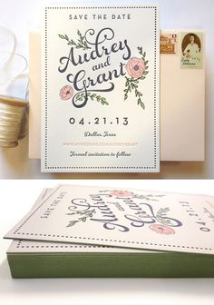 Letterpress Save the Date with Hand Drawn Flower Illustration and green edge painting by Southern Fried Paper