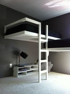 Space saving bunk beds for high ceiling rooms.