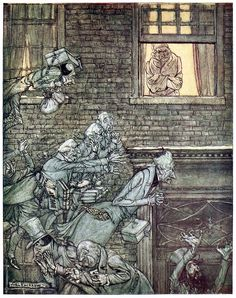 The air was filled with phantoms, wandering hither and thither in restless haste… Arthur Rackham, from A Christmas carol, by Charles Dickens, London, 1915. (Source: archive.org)