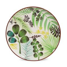 JUNGLE faience dinner plate with foliage motif D 21 cm   - Sold in sets of 6