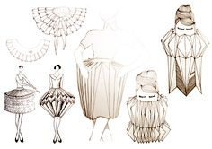 Illustrations drawn whilst studying Fashion design at Politecnico di Milano in Italy, Currently I am working on a collection of expandable garments for maternity wear as part of my Masters of. Origami Lampshade, Paper Light, Paper Fashion, Fashion Project, Fabric Manipulation, Wearable Art, Contemporary Art, Artist, Prints