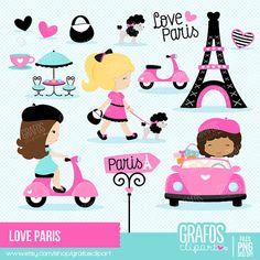 LOVE PARIS Digital Clipart Set Paris Clipart by GRAFOSclipart