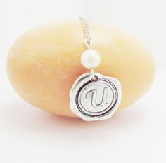 Wax Seal Silver Pendant Initial Personalized by 4Everinstyle, $28.00