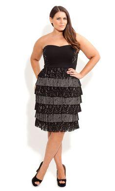 25769835b67a8 City Chic - LACE TIER TIA DRESS - Women s plus size fashion Chubby Fashion