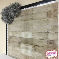 Love the wood background of this bulletin board!