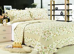 -100% soft microfiber face with 100% cotton fillings -complete reversibility for practical use - Standard size pillow shams included All for You 3-piece Reversible Bedspread/ Coverlet / Quilt Set-orange, pink, purple, blue flowers and sage green leaves prints