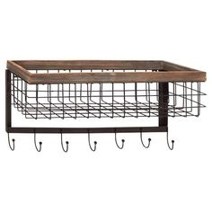 A must-have addition to your entryway or mudroom, this classic wall basket features an industrial-chic design and 7 hooks perfect for organizing out-the-door...