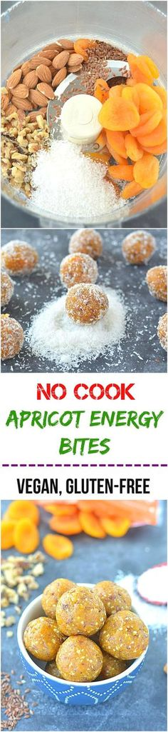 An amazingly delicious no cook apricot energy bites is a perfect snack made with flax seeds, healthy nuts and desiccated coconut! Above all, it is sugar-free, gluten- free and vegan! (Gluten Free Recipes For Dessert) Raw Food Recipes, Snack Recipes, Cooking Recipes, Healthy Recipes, Diet Recipes, Cooking Tips, Easy Cooking, Snacks Ideas, Recipies