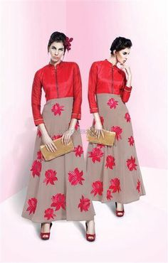 Step in as a celebrity in this designer gown on any upcoming momentous day, the type of latest smart patterns will be resembling modern fashion for you. Suit Fashion, India Fashion, Girl Fashion, Bollywood Dress, Saree Dress, Gown Dress, Red Frock, Suits For Women, Clothes For Women