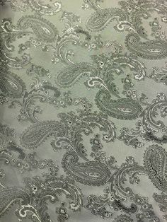 6c02125f349 Paisley Jacquard Woven Silver   Grey Two Tone Fabric - By Meter - 58 145cm  Wide