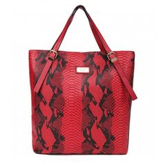Michael Kors Crocodile-Embossed Large Red Totes