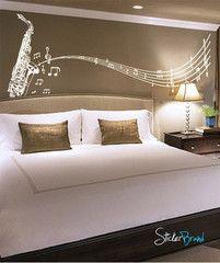 Vinyl Wall Decal Sticker Saxophone Music Notes Sax #326 | Stickerbrand wall art decals, wall graphics and wall murals.