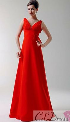 52b979bf77992 A-Line V-neck Floor-length Elastic Silk-like Satin Bridesmaid  · Red And White  WeddingsCheap Bridesmaid Dresses ...