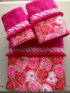 Heart and Zebra Bath Towel Set by LadyDiBlankets on www.ladydiblankets.etsy.com, $59.99