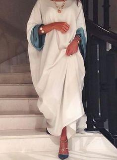 General Tunic White Day Dresses Polyester Casual Round Neckline Shift Dress Spring Long Sleeve Maxi Summer Fall S Color Block M L XXL Dress Iranian Women Fashion, Arab Fashion, Muslim Fashion, African Fashion, Modest Fashion Hijab, Fashion Dresses, Abaya Designs, Mode Hijab, African Dress