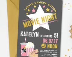 Film Nacht Geburtstagseinladung, Movie Night Einladung, Film Geburtstagseinladung, Film Einladung Kino Geburtstagseinladung