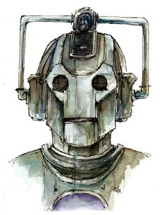 "Doctor Who ""Cyberman"" Fine art print of my original illustration in various sizes on Etsy, $8.00"
