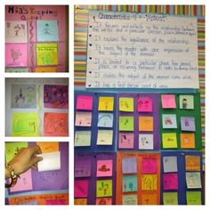 MEMOIR: Take 6 multi-colored Post Its and stick them on a piece of colored construction paper. Students draw pictures on top of each square and underneath they write a little bit about the special memory! (Great interactive bulletin board that visitors will want to read)
