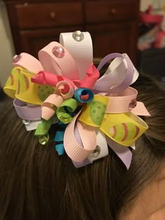 Easter Pastel Hair Bow with Rhinestones