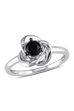 Black Diamond Spiral Trim Ring - 0.50 ctw
