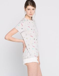 Pull&Bear - woman - t-shirts - t-shirt with an all-over print - grey marl - 09237306-I2016