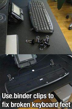 Use binder clips to fix broken keyboard feet!