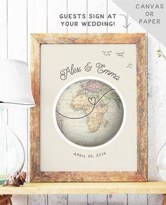 Globe Guest Book Alternative Travel Theme by MissDesignBerryInc