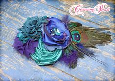Peacock Feather Hair Piece Teal Purple Jewel by CrowningPetals, $28.50