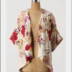Anthropologie Silk Floral Kimono Jacket Anthropologie 100% Silk floral kimono cardigan jacket. Like new. Anthropologie Jackets & Coats