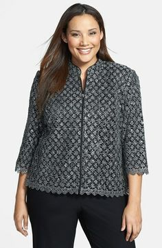 Alex Evenings Metallic Lace Jacket (Plus Size) available at #Nordstrom