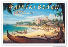 Hawaiian Artists Showcase - Waikiki Beach (Outrigger) - Giclee Art Prints and Posters Lithographs by Kerne Erickson