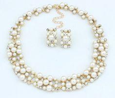 Fashion Crystal Women Bib Chain Choker Statement Pearl Necklace Set Earrings
