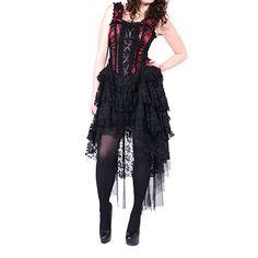 Ophelie satijnen corset jurk met gedrapeerde rok bordeaux rood/zwart - Gothic