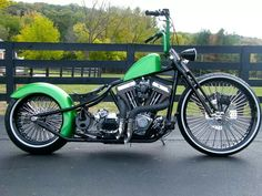 Not a fan of Ape bars but this is cool! And love the larger tire in front! #harleydavidsonbaggeroldschool