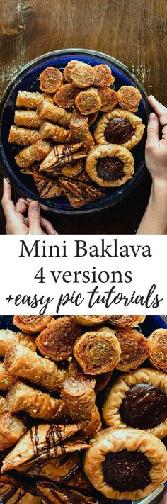 Here's how to make an assortment of mini Baklavas. Simply follow the picture tutorials and will be super easy. You can try all versions (choco-filled triangles, choco-filled nests, rolled Baklava, mini ruffled Baklavas with pistachios) or pick the one you like and make just that! #Baklava #mini #tutorial #Greek #chocolate Chocolate Baklava, Bakers Chocolate, Chocolate Filling, Greek Desserts, Greek Recipes, Vegan Recipes, Baklava Cheesecake, Pistachio Baklava, Pistachios