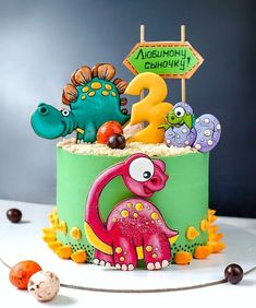 Fancy Cookies, Cupcake Cookies, Dinasour Cake, Dino Cake, Baby Birthday Cakes, Gingerbread Cake, Character Cakes, Cake Decorating Techniques, Holiday Cakes