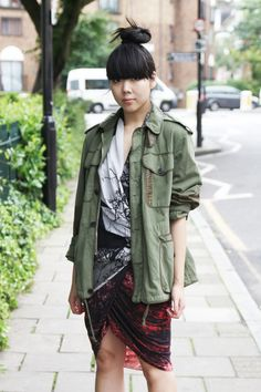 Susie Bubble wearing our Fall 12 Tree Collage Top and Midnight Floral Skirt. #streetstyle