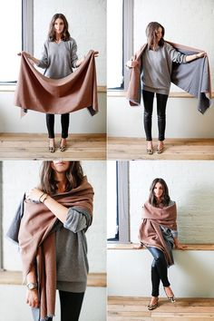 There are many ways to wear a blanket scarf & it really depends on your outfit. We share some images & Videos tutorial on How To Wear A Blanket Scarf. How To Wear A Blanket Scarf, Ways To Wear A Scarf, How To Wear Scarves, Tie Scarves, Scarfs Tying, How To Wear Pashmina, Blanket Scarf Outfit, Plaid Blanket, Pashmina Shawl