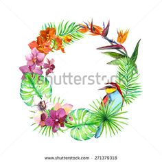 Tropical leaves, exotic birds, orchid flowers. Floral wreath. Watercolor - stock photo